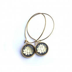 Lotus Flower themed 12mm Silver hoop earrings