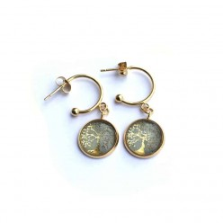 Gold Tree of Life c-hoop 12mm earrings