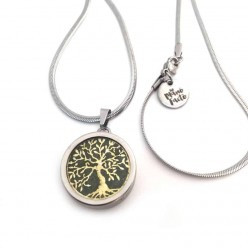 Gold Tree of Life interchangeable pendant on Stainless steel Chain