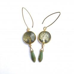 Tree of life dangle earrings with Czech glass dangle bead