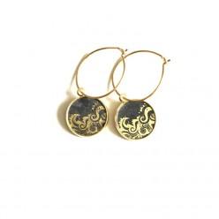 Blue Waves gold stainless steel hoop earrings in 16mm