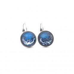 Light Blue Waves Silver Earrings