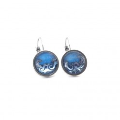 Light Blue and Silver waves 12mm lever-back Earrings