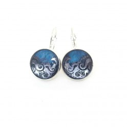 Boucles d'oreilles à levier (dormeuses) en argent Vagues bleues en 16 mm