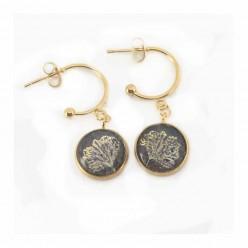 Boucles d'oreilles en acier inoxydable 12 mm C-hoop feuille de Ginkgo doré