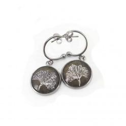 Boucles d'oreilles argentées C-hoop feuille de Ginkgo en acier inoxydable 16 mm