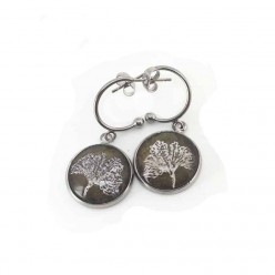 Silver Gingko leaf c-hoop stainless steel 16mm earrings