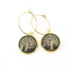 Boucles en acier inox format créoles, thème arbre de la vie or et vert sauge