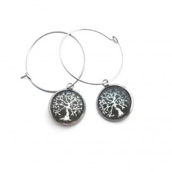 16mm Silver Tree of Life Hoop earrings