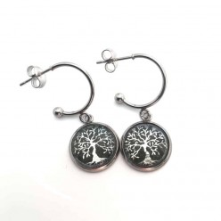 """Boucles d'oreilles argentés en acier inox, thème arbre de la vie- créoles en """"C"""" 12 mm"""