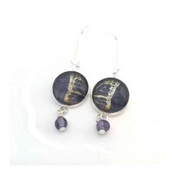 Boucles d'oreilles pendantes aile de papillon bleu et argent avec cadre et perle en argent