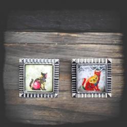 PIN aus Metall Silber veraltete Katzen Thema
