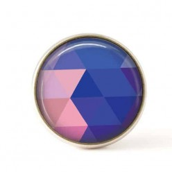 Bouton / Cabochon pour bijoux interchangeables 25mm - triangles bleus