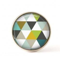 Bouton / Cabochon pour bijoux interchangeables 25mm - triangles verts