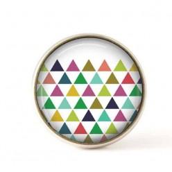 Bouton / Cabochon pour bijoux interchangeables 25mm - triangles multicolores