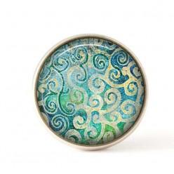 Bouton / Cabochon pour bijoux interchangeables 25mm- Tourbillons Turquoise.
