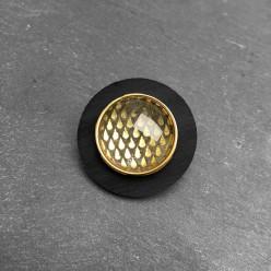 Broche personnalisable / interchangeable en bois de teck ou noir acrylique