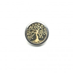 Bouton - cabochon snap for interchangeable jewelry - gold and sage green tree of life