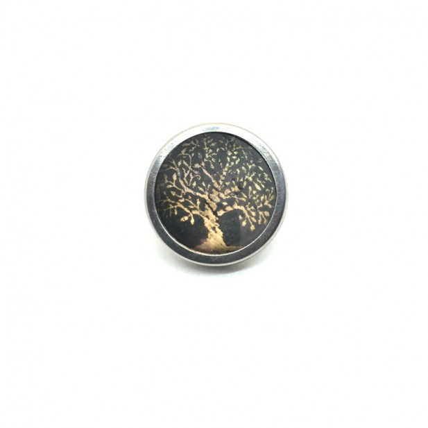 Button - cabochon for personalized jewelry with the theme tree of life gold and sage green 2