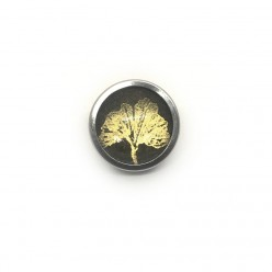 Button - cabochon for customizable jewelry with the theme gold tree of life and sage green