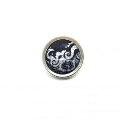 Bouton - cabochon pour bijoux personnalisables avec le thème vagues argent et bleu marine