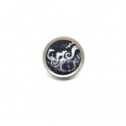 Button - cabochon for customizable jewelry with the theme waves silver and navy blue