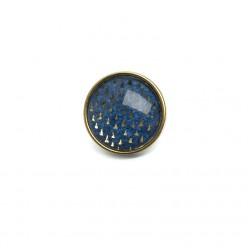 Bouton - cabochon pour bijoux personnalisables avec le thème triangles sur fond bleu