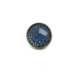 Button - cabochon for customizable jewelry with the theme triangles on a blue background