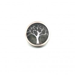 Button - cabochon for customizable jewelry with the tree of life winter silver and sage green theme