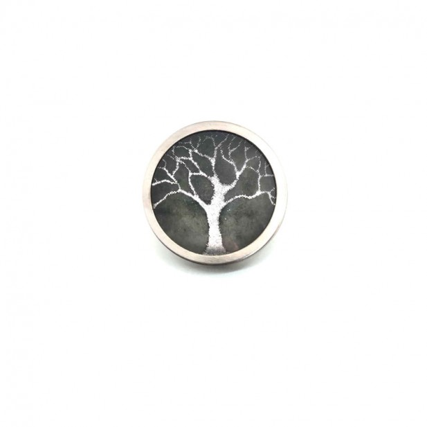 Button - cabochon for customizable jewelry with the winter silver tree of life and sage green theme