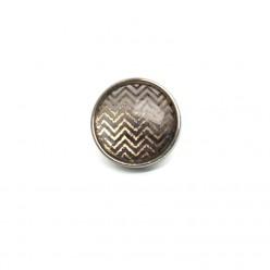 Bouton - cabochon pour bijoux personnalisables avec le thème chevrons d'argent