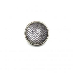 Bouton - cabochon pour bijoux personnalisables avec le thème chevrons d'argent sur fond gris