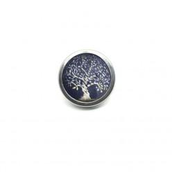 Bouton - cabochon 25mm pour bijoux personnalisables avec le thème arbre de la vie argent et bleu marine