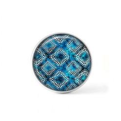 Cabochon / Button for Interchangeable Jewelry - Navy blue batik theme