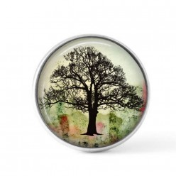 Snap button cabochon for interchangeable jewelry with an ash tree on a grunge green and red background