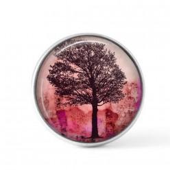 Cabochon à bouton-pression pour bijoux interchangeables sur le thème du coucher du soleil et du frêne