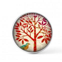 Cabochon à bouton-pression pour bijoux interchangeables sur le thème de l'arbre de vie rouge naïf