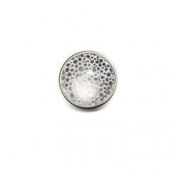 Bouton / Cabochon pour bijoux interchangeables- Pois argent