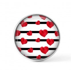 Cabochon / Button for interchangeable jewelry - Heart and lines theme