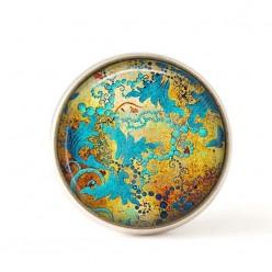 Bouton / Cabochon pour bijoux interchangeables- Or cuivrée et turquoise.
