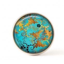 Bouton / Cabochon pour bijoux interchangeables- Turquoise et Or cuivrée..
