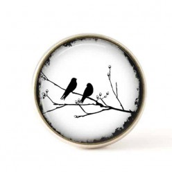 Interchangeable clip on buttons black and white birds on a branch