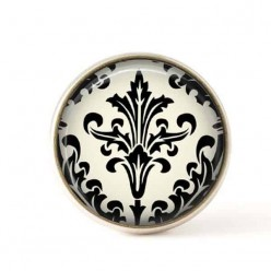 Interchangeable clip on buttons black and white damask 1
