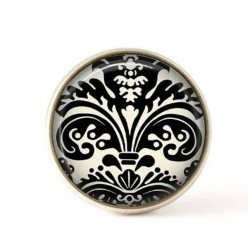 Interchangeable clip on buttons black and white damask 2