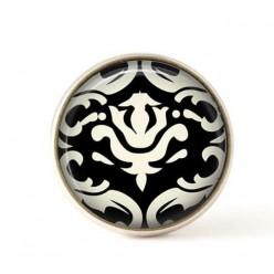 Cabochon pour bijoux interchangeables- Damassée noir et crème 3.