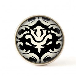 Interchangeable clip on buttons black and white damask 3