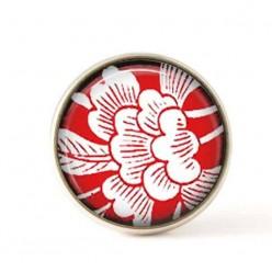 Cabochon pour bijoux interchangeables- thème fleurs japonisantes sur fond rouge.