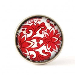 Bouton / Cabochon pour bijoux interchangeables- Damassée Rouge 1..
