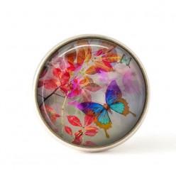 Bouton / Cabochon pour bijoux interchangeables-feuillage rouge et papillon