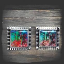 Broche thème moderne abstrait métal couleur argent vieilli